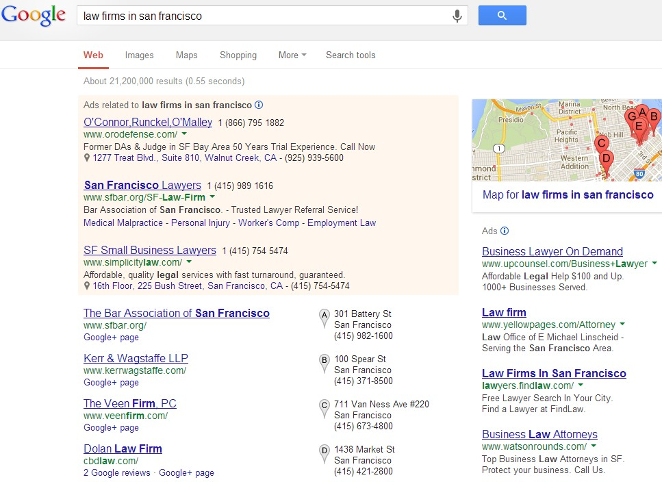law firm seo search results